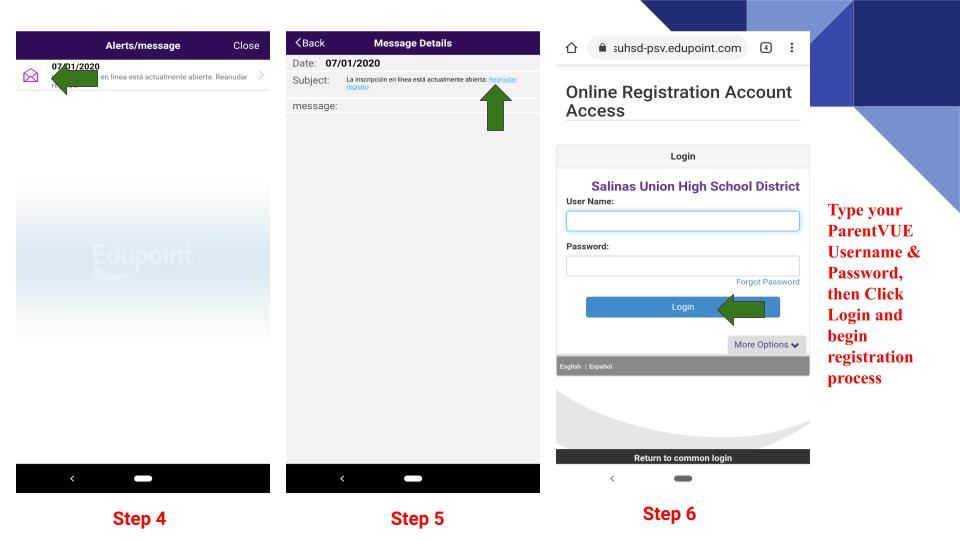 Registration steps