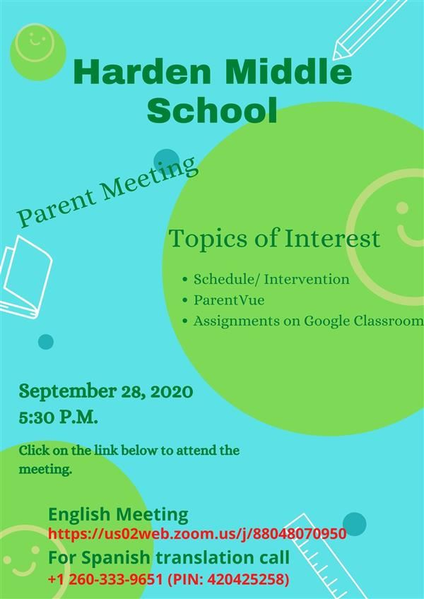 Parent Meeting - Monday, September 28, 2020
