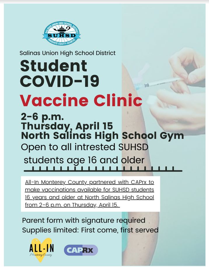 Vaccine Clinic for Students on April 15
