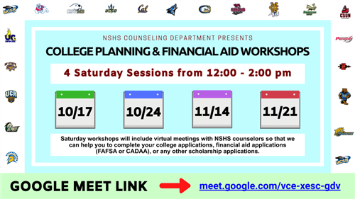 Saturday College Planning & Financial Aid Workshops