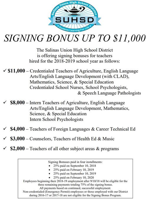 New Teacher Signing Bonus For 2018 19