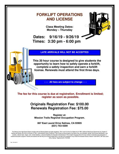 Forklift Operations + License