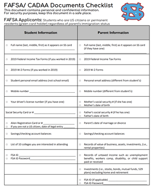FAFSA/CADAA Checklist (English)